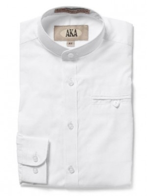 AKA Boys Long-Sleeve Mandarin Collar Smart Dress Shirt