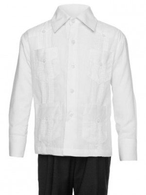 Gentlemens Collection Big Boys Cotton Blend Long-Sleeve Guayabera Shirt
