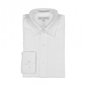 AKA Boys Wrinkle Free White On White Long Sleeve Dress Shirt