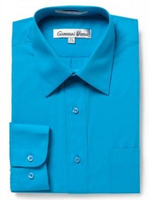 Giovanni Uomo Men's Long-Sleeve Slim Fit Solid Dress Shirt