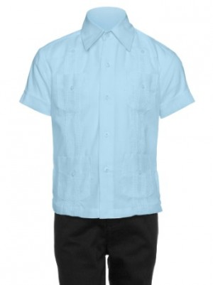 Gentlemens Collection Big Boys Cotton Blend Short-Sleeve Guayabera Shirt