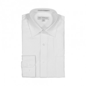 AKA Boys Wrinkle Free White On White Short Sleeve Dress Shirt