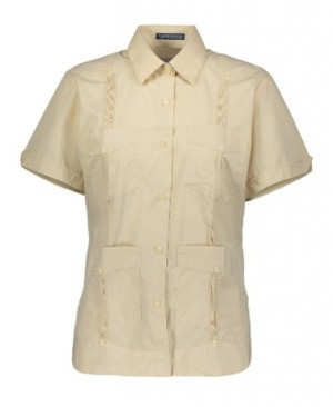 AKA Women's Guayabera Shirt Wrinkle Free Short Sleeve
