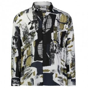 Gentlemens Collection Light-Weight Batik Modern Design Long Sleeve-Tropical Hawaiian Printed Shirt