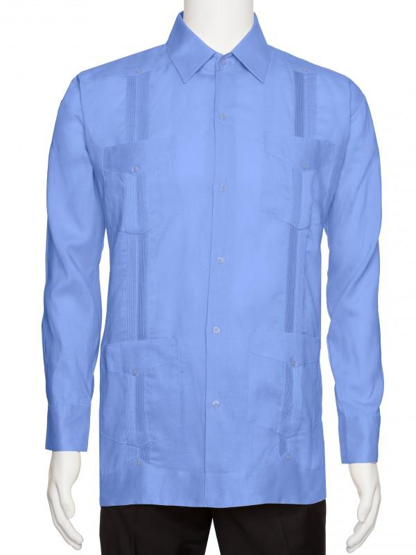 Giovanni Uomo Mens Long Sleeve Linen Guayabera Shirt
