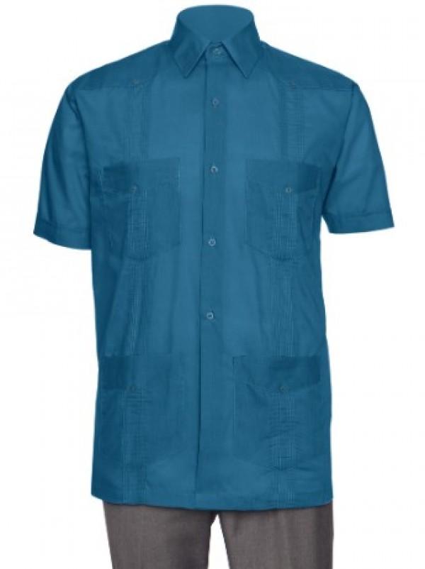 7f6896d8f1 Gentlemens Collection Mens Short-Sleeve Linen Look Guayabera Shirt ...