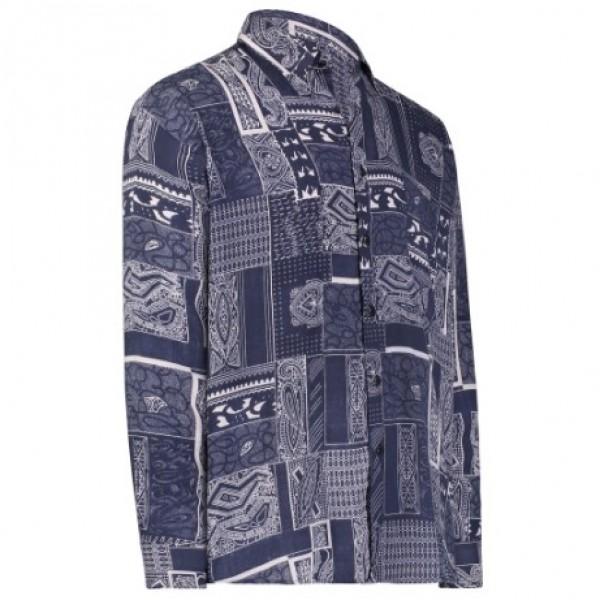 232a0017adbe Gentlemens Collection Light-Weight Batik Modern Design Long Sleeve-Tropical  Hawaiian Printed Shirt